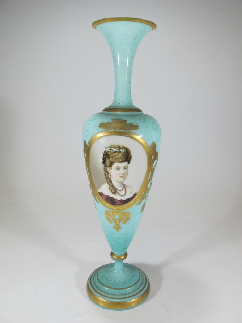 Antique European opaline glass with painting
