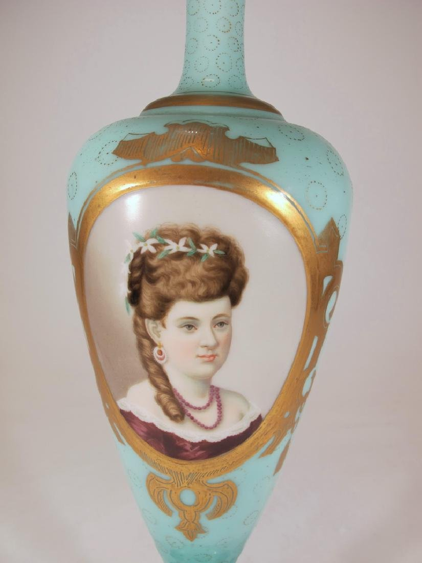 Antique European opaline glass with painting - 3