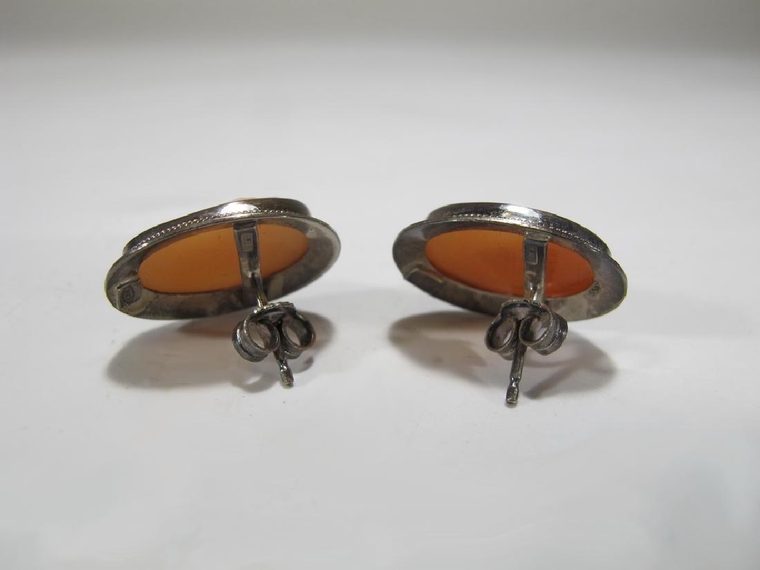Vintage Italian sterling & cameo earings - 2