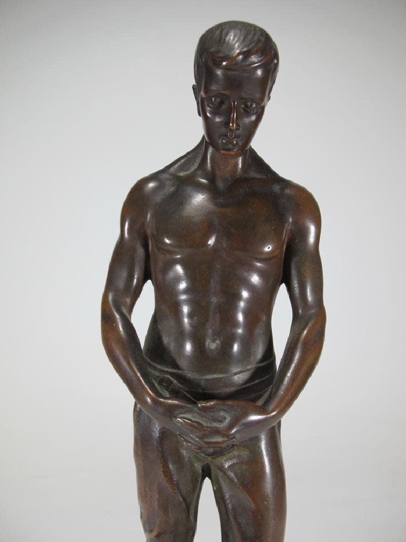 Antique European man bronze statue with a marble base - 2