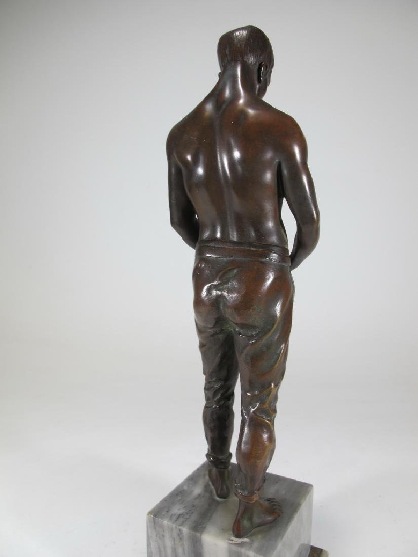 Antique European man bronze statue with a marble base - 6