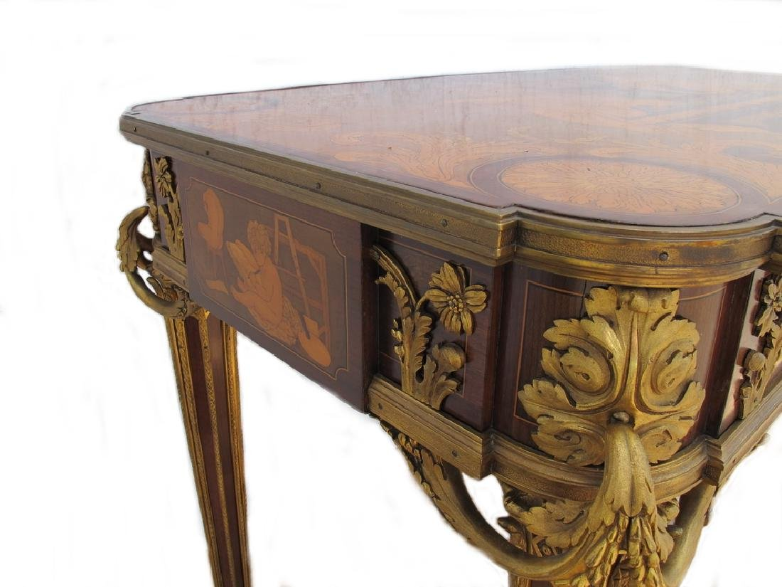 Awsome French Linke inlay & ormolu table - 7