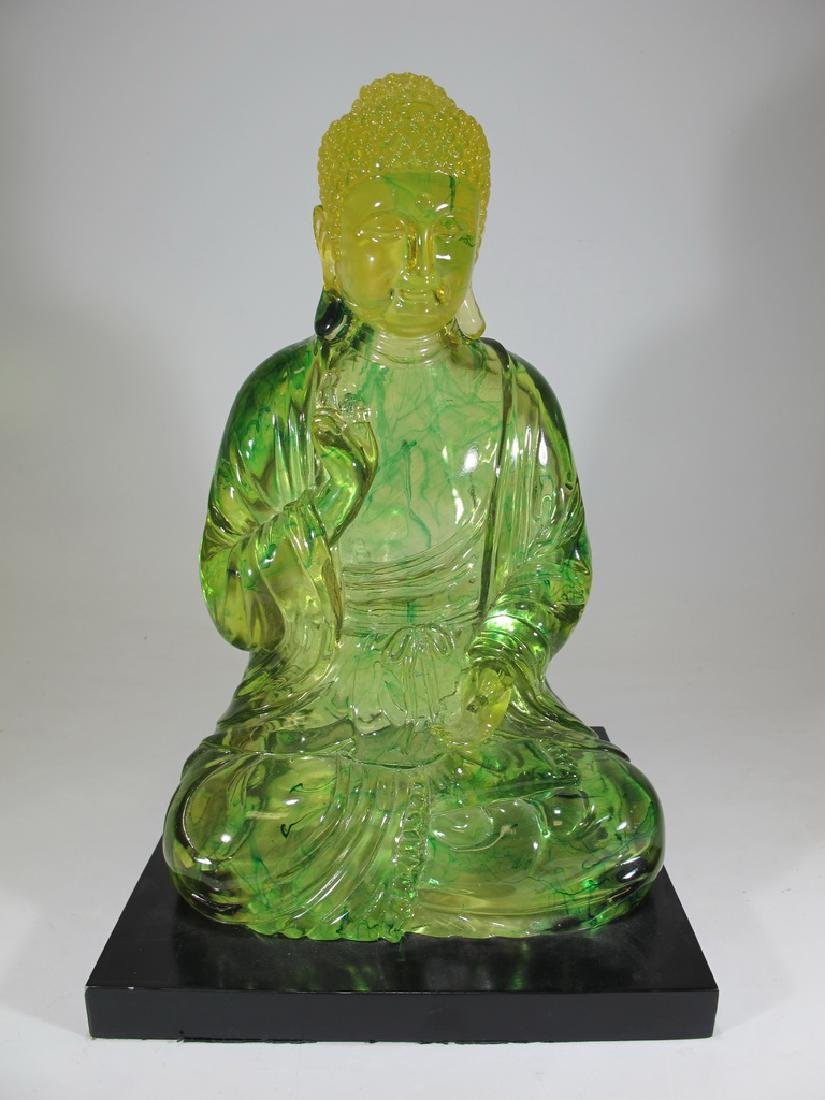 Vintage Chinese green Lucite Buddha statue