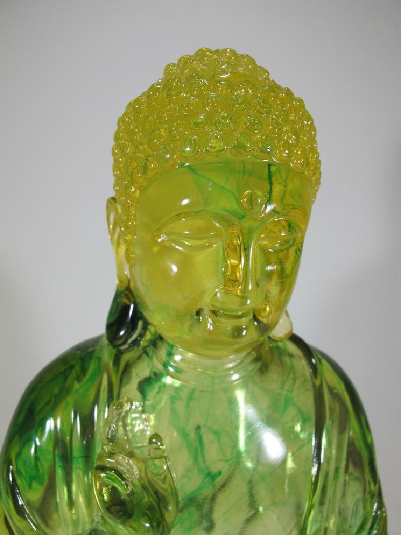 Vintage Chinese green Lucite Buddha statue - 2