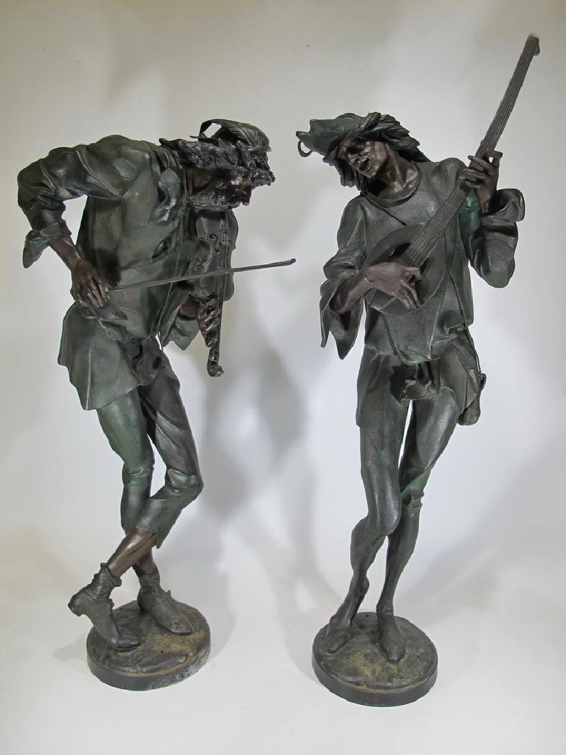 Antique huge pair French spelter statues