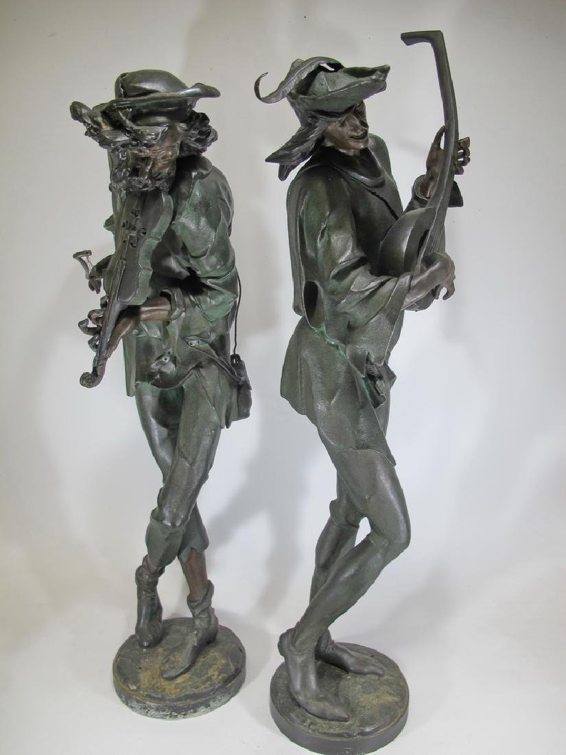 Antique huge pair French spelter statues - 7