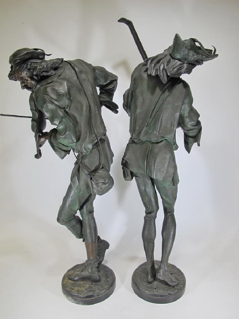 Antique huge pair French spelter statues - 8