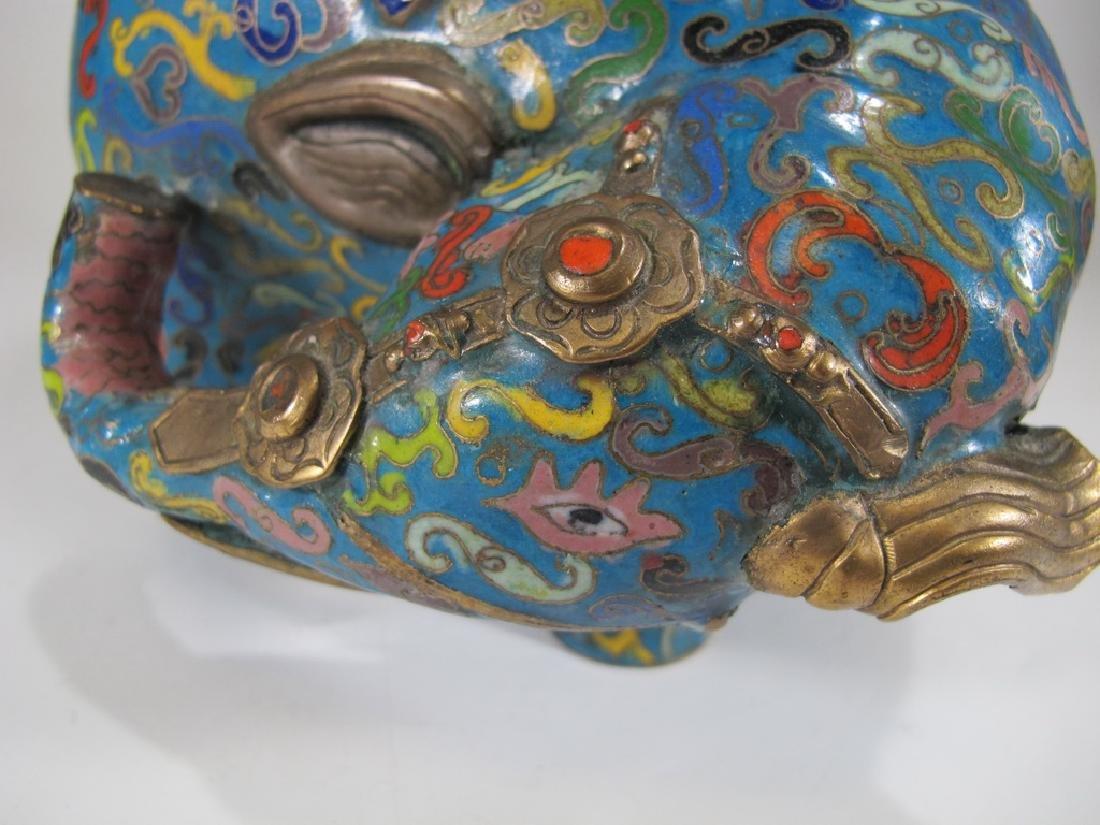 Antique Oriental cloisonne elephant vase - 10