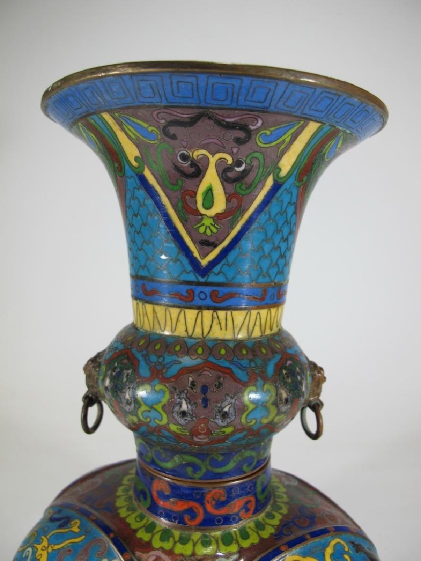 Antique Oriental cloisonne elephant vase - 3
