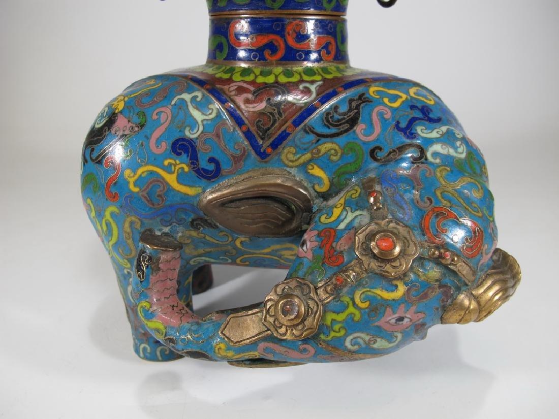 Antique Oriental cloisonne elephant vase - 4