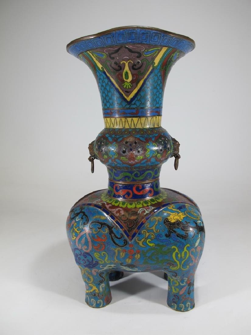 Antique Oriental cloisonne elephant vase - 6