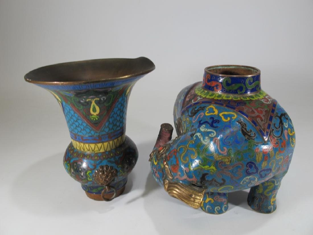 Antique Oriental cloisonne elephant vase - 8