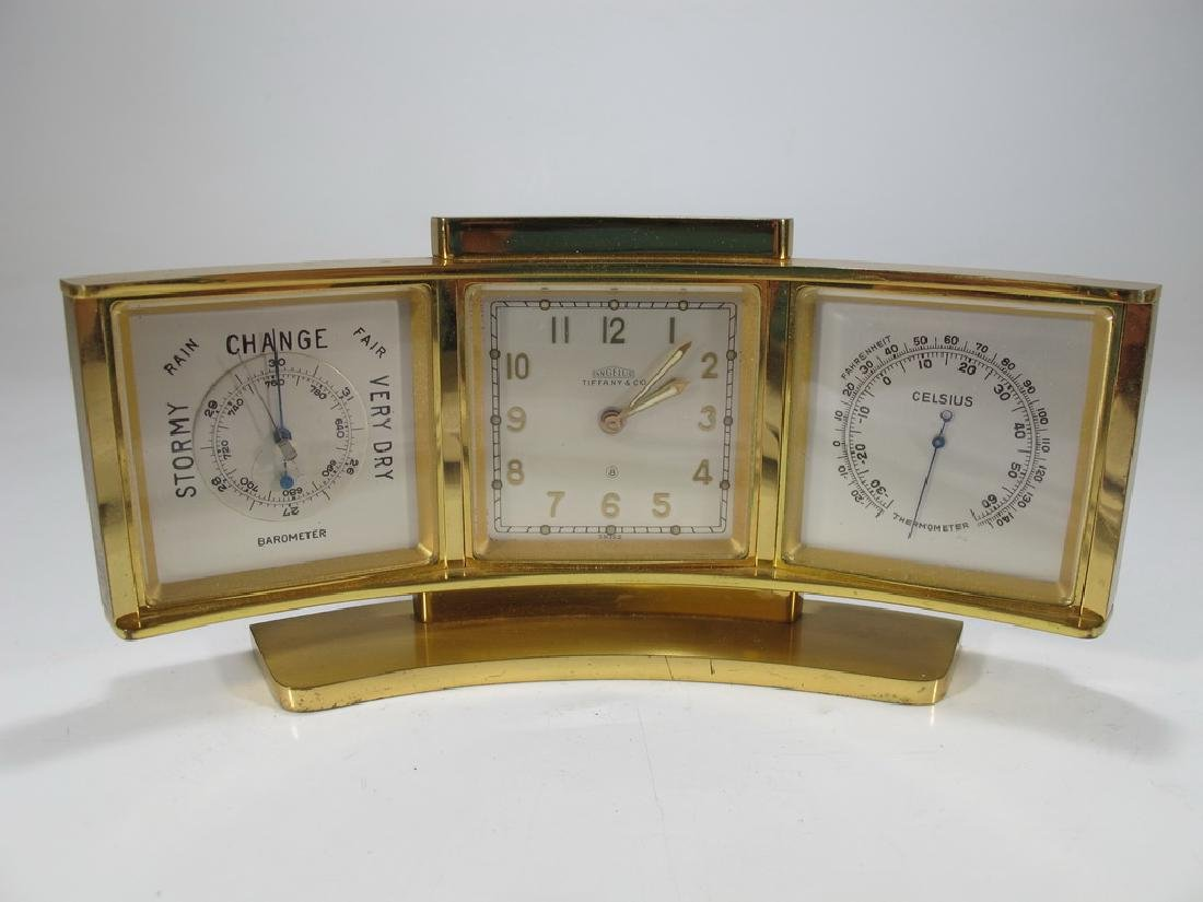 Tiffany & Co, Angelus  bronze desk clock barometer and