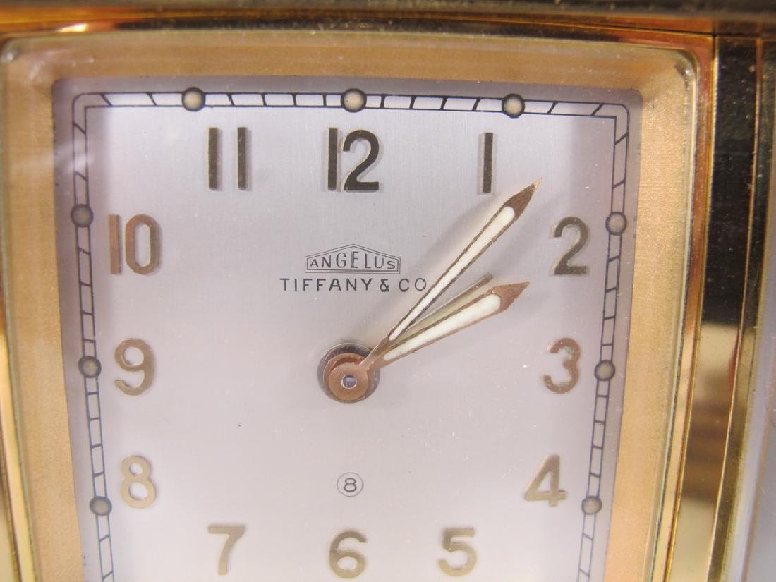 Tiffany & Co, Angelus  bronze desk clock barometer and - 2