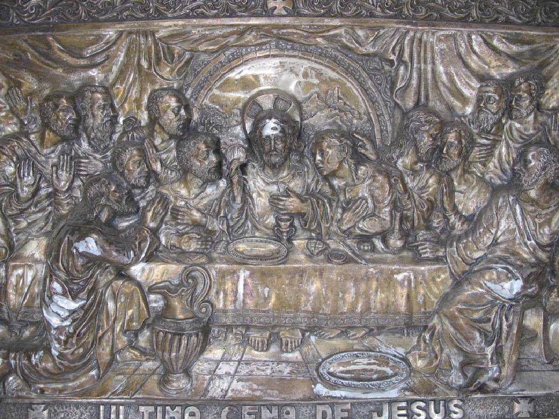 Antique embossed metal Last Supper plaque - 2