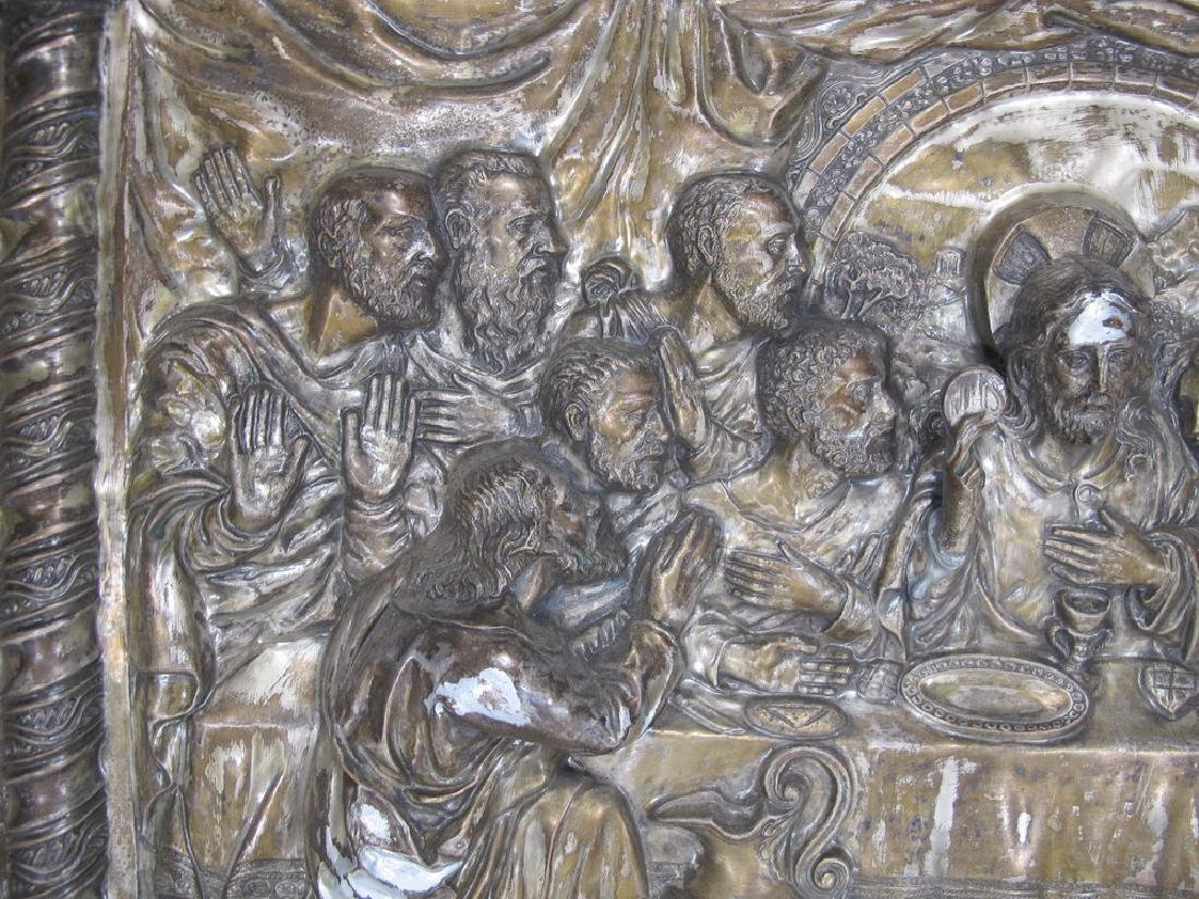 Antique embossed metal Last Supper plaque - 4