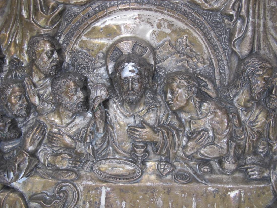 Antique embossed metal Last Supper plaque - 5