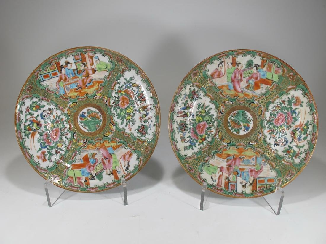 Antique Chinese Rose Medallon pair of porcelain plates