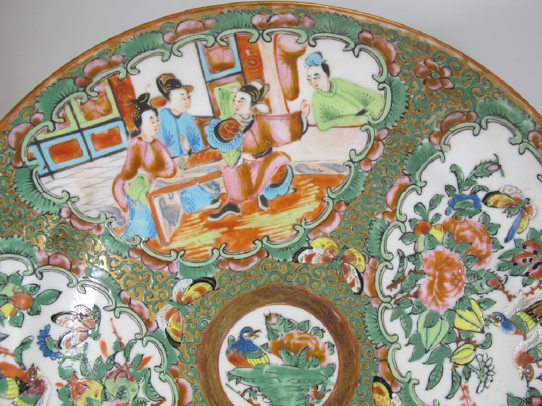 Antique Chinese Rose Medallon pair of porcelain plates - 2