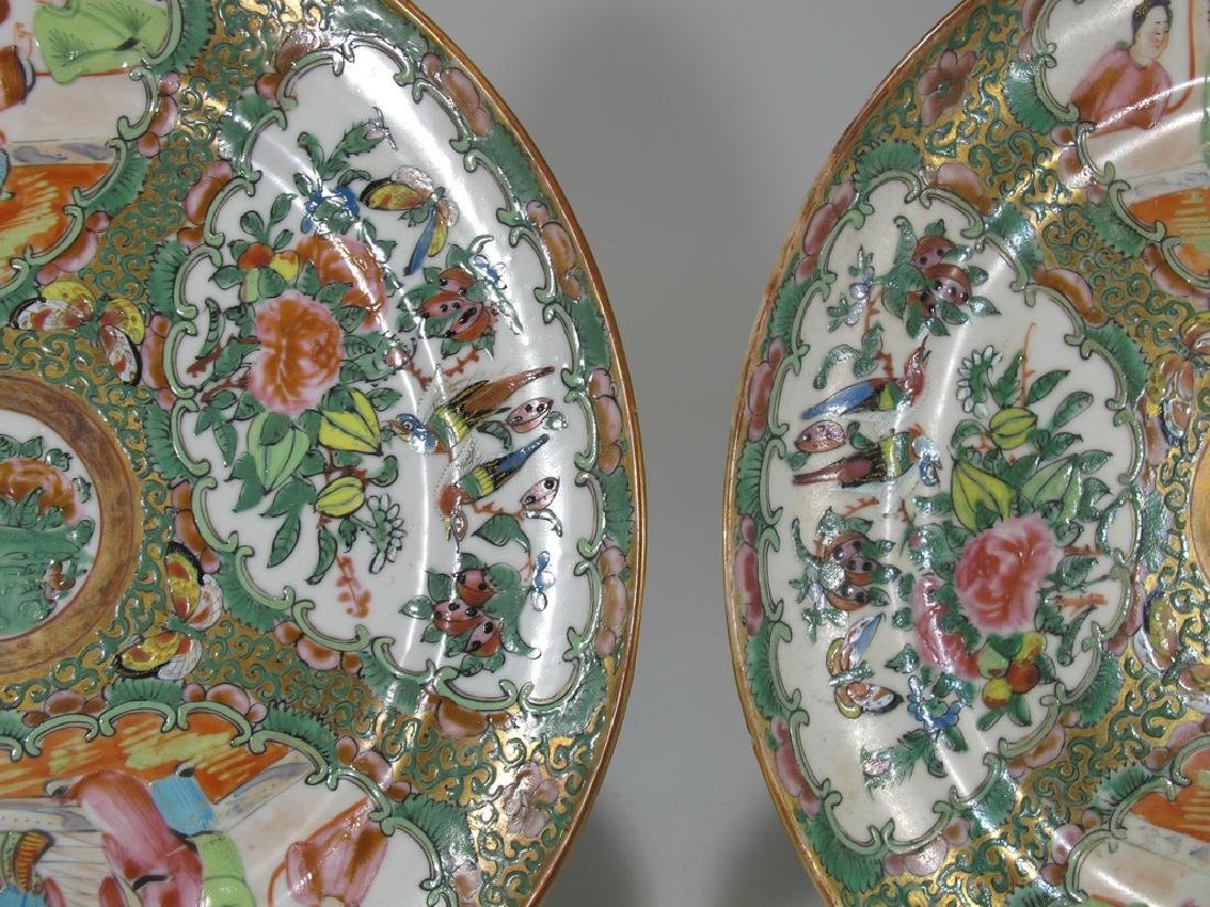 Antique Chinese Rose Medallon pair of porcelain plates - 4
