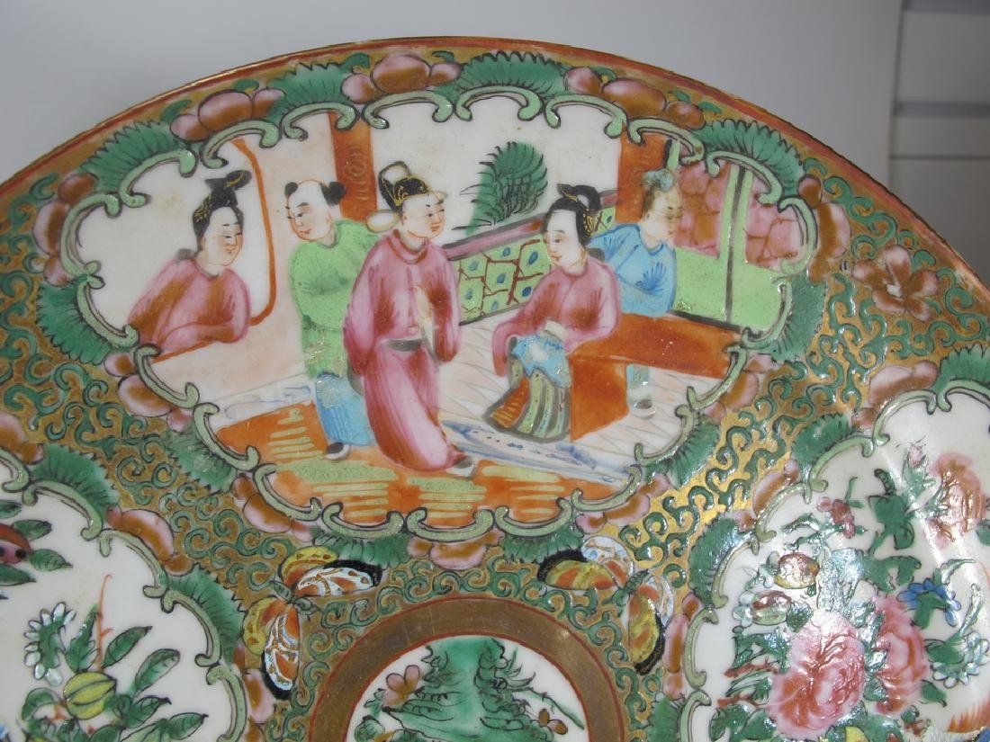 Antique Chinese Rose Medallon pair of porcelain plates - 5