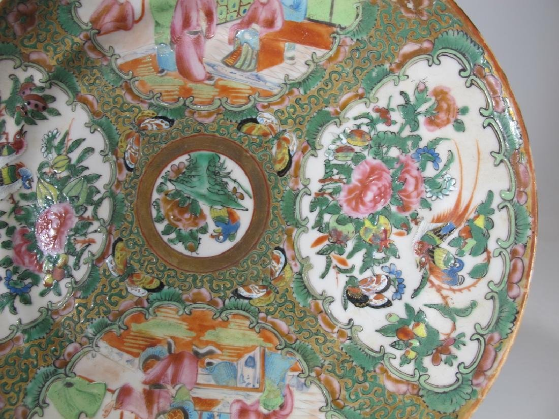 Antique Chinese Rose Medallon pair of porcelain plates - 6