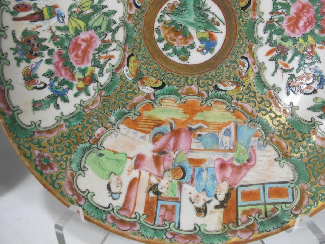 Antique Chinese Rose Medallon pair of porcelain plates - 7