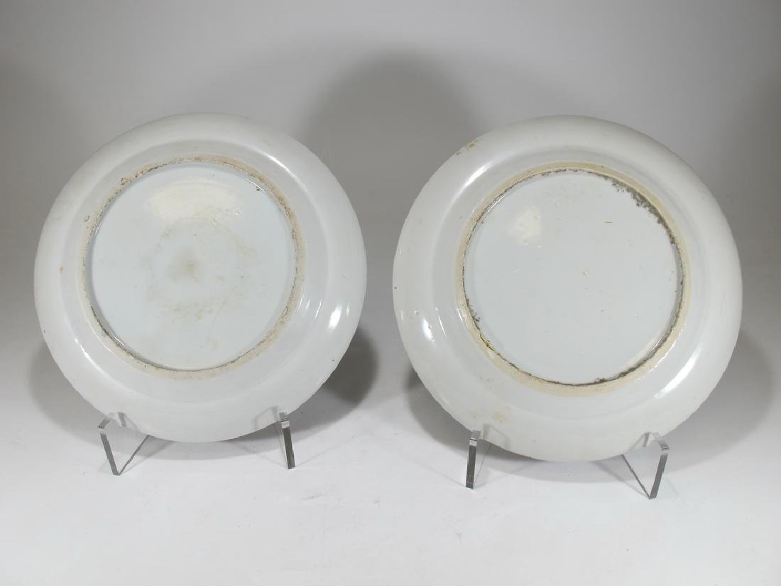 Antique Chinese Rose Medallon pair of porcelain plates - 8