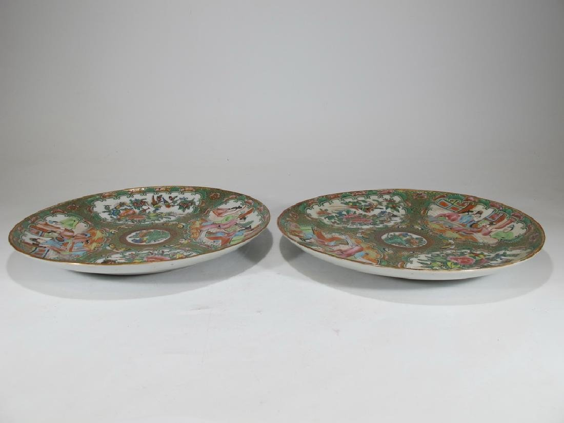 Antique Chinese Rose Medallon pair of porcelain plates - 9