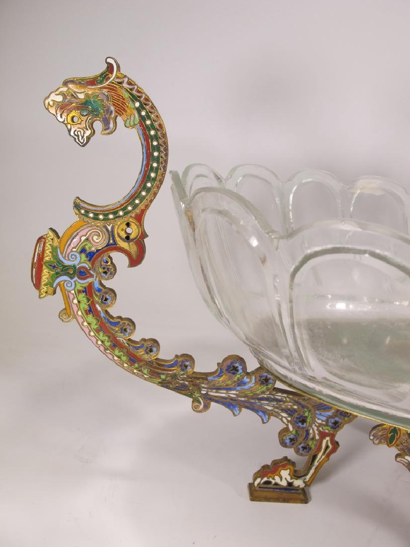 Antique Oriental bronze cloisonne & glass centerpiece - 2