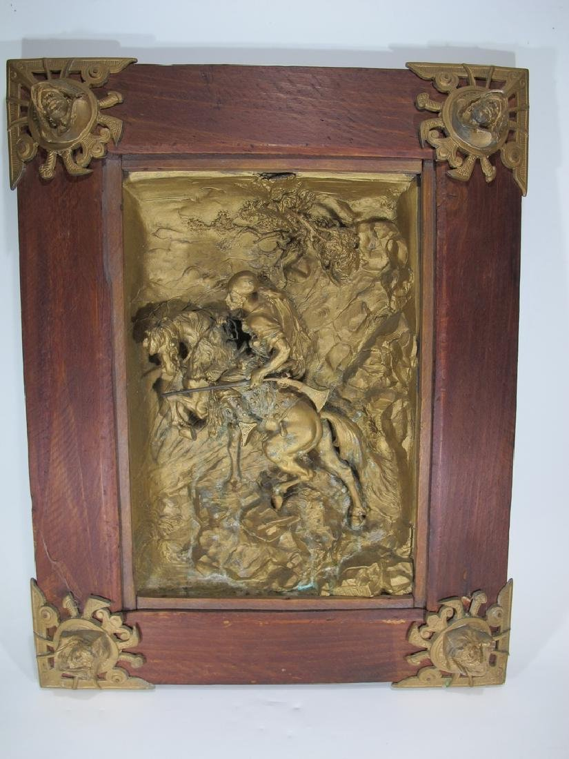 Signed Hardy antique French spelter plaque
