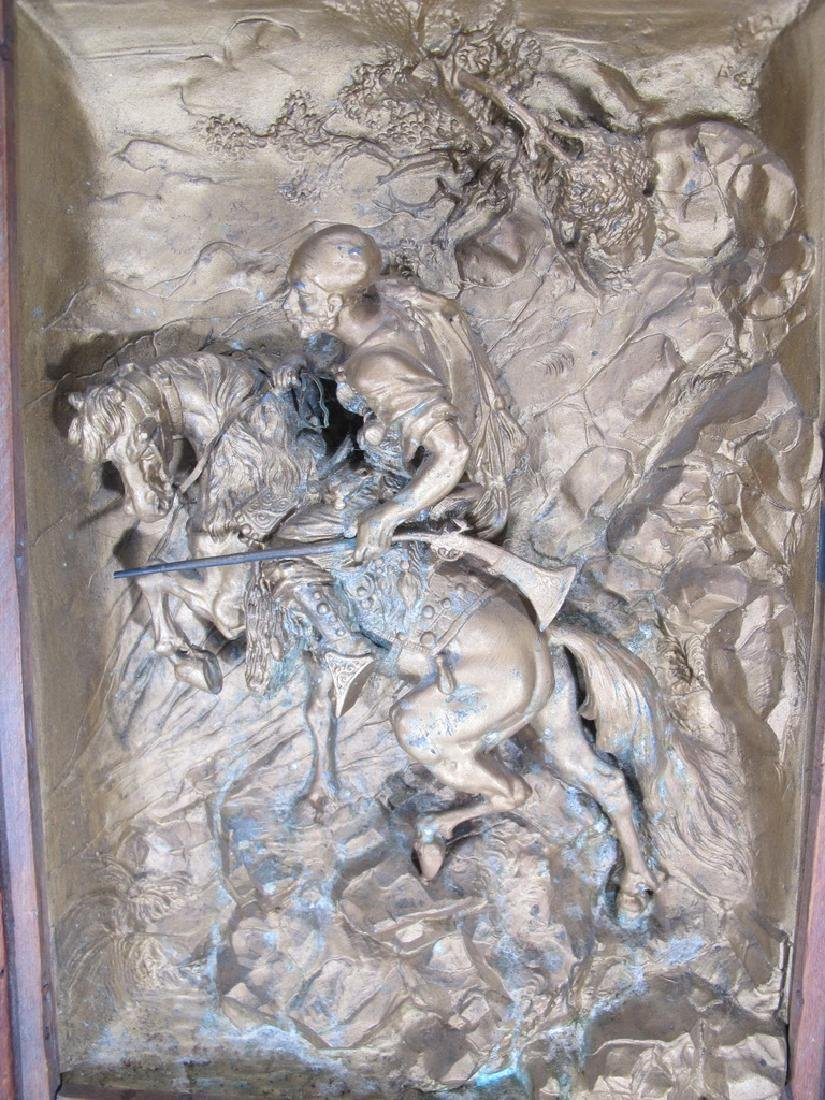 Signed Hardy antique French spelter plaque - 3