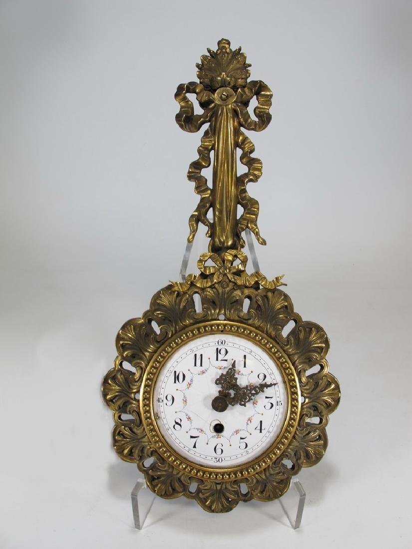Antique Swiss bronze wall clock