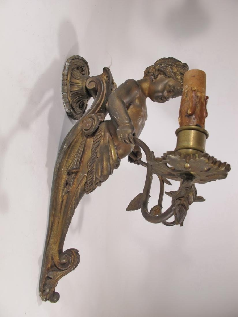 Antique French pair of bronze wall sconces - 6