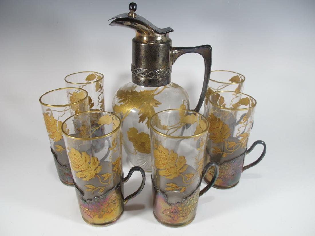 Art Nouveau metal & painted glass pitcher with 6 cups