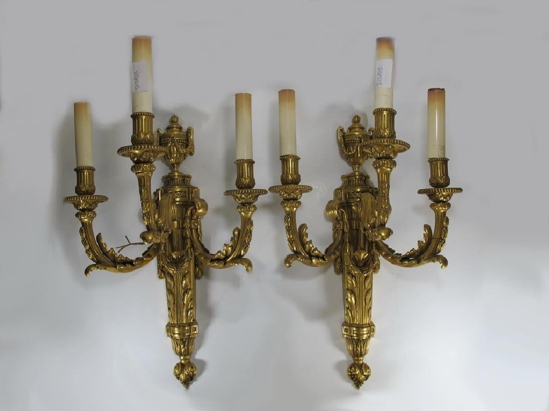 Antique French huge pair of bronze wall sconces