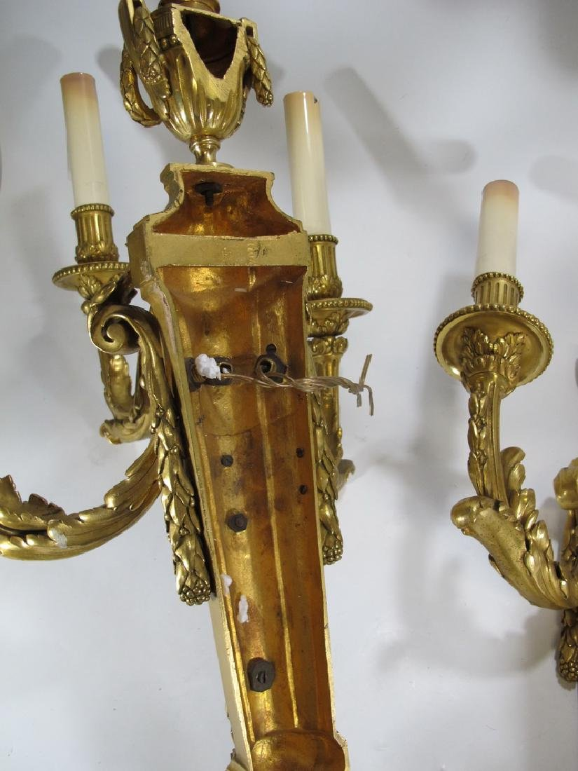 Antique French huge pair of bronze wall sconces - 9
