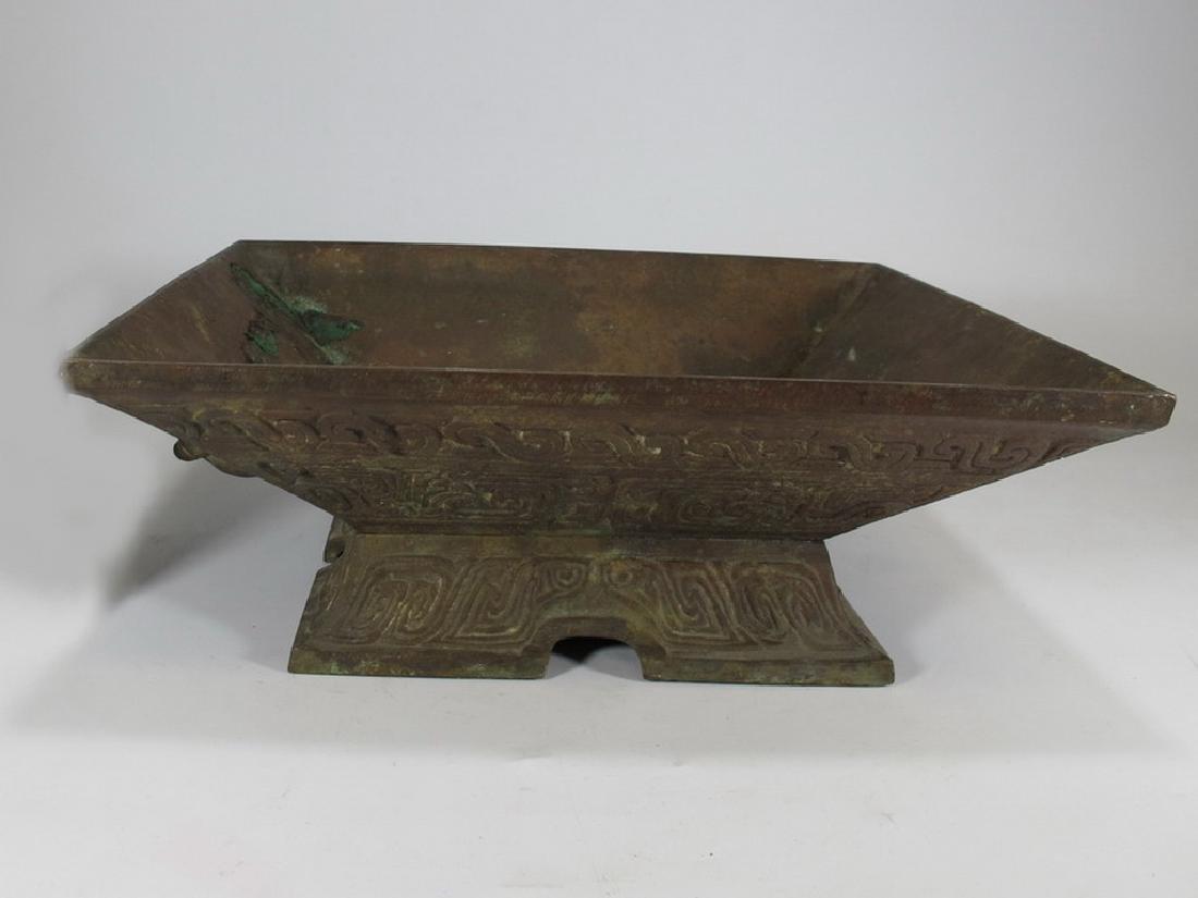 Antique Chinese bronze square bowl