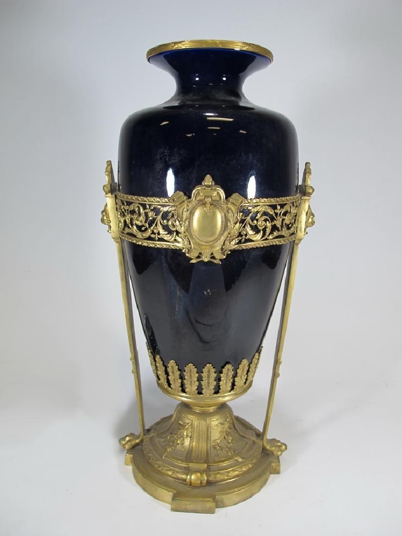 Antique French bronze & porcelain vase
