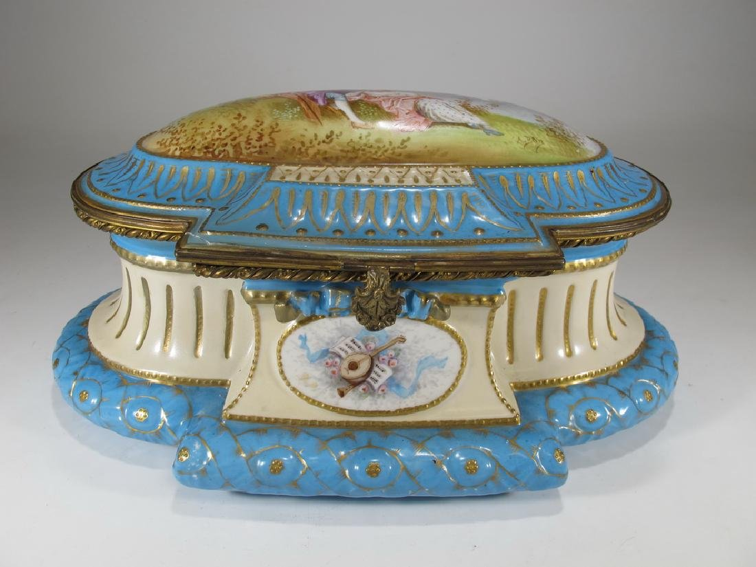 Antique French probably Sevres bronze & porcelain box
