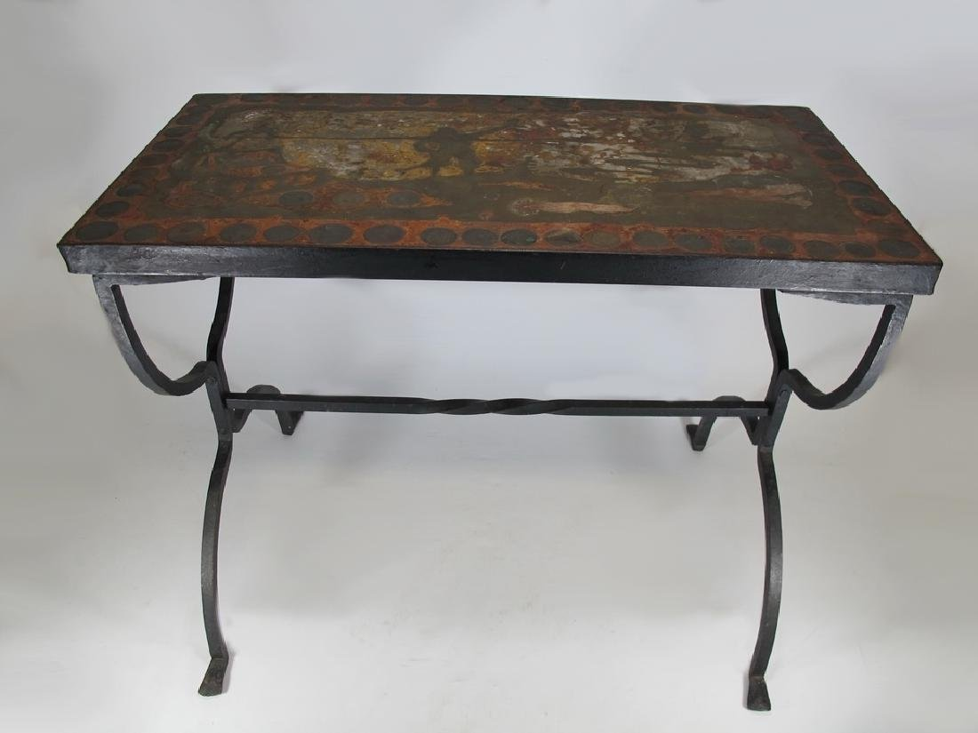 Art & Craft iron with antique coins garden table