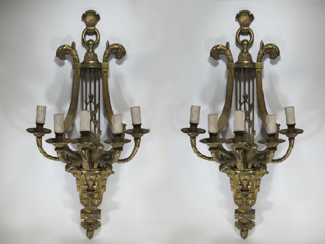Huge Antique European pair of bronze sconces