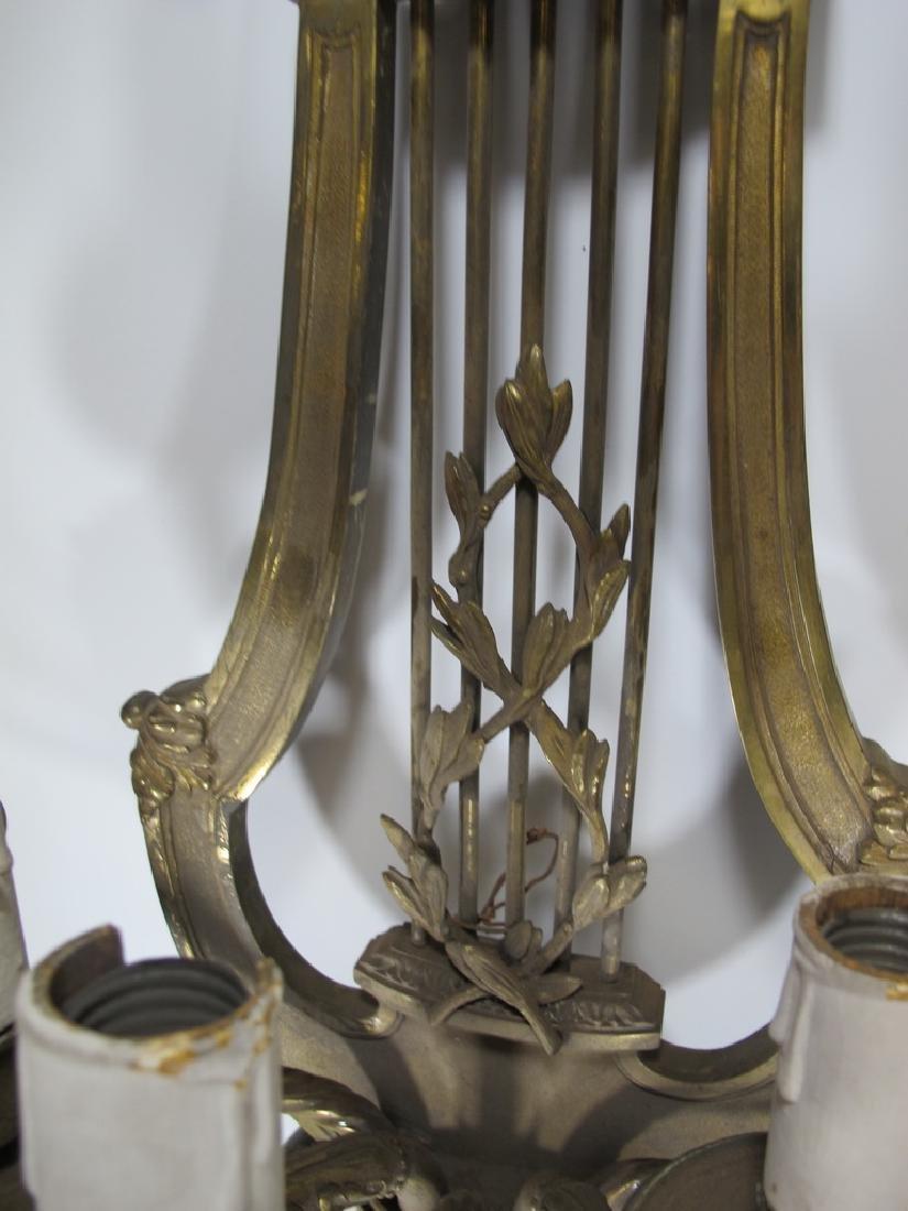 Huge Antique European pair of bronze sconces - 5
