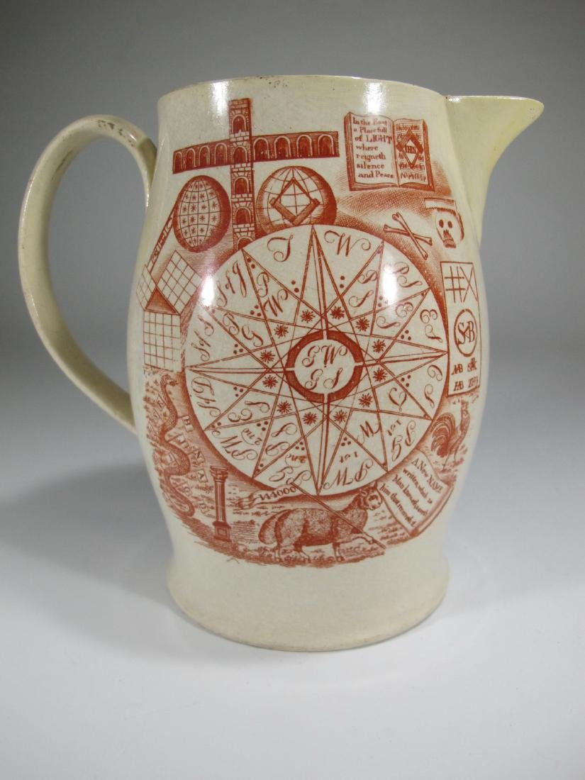 Antique English Masonic cream ware jug - 7