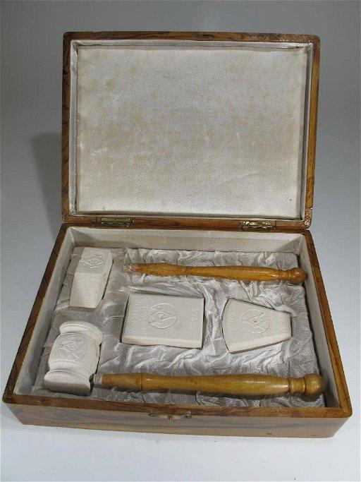 Vintage Masonic meleke limestone & wood gavel set - Jun 27