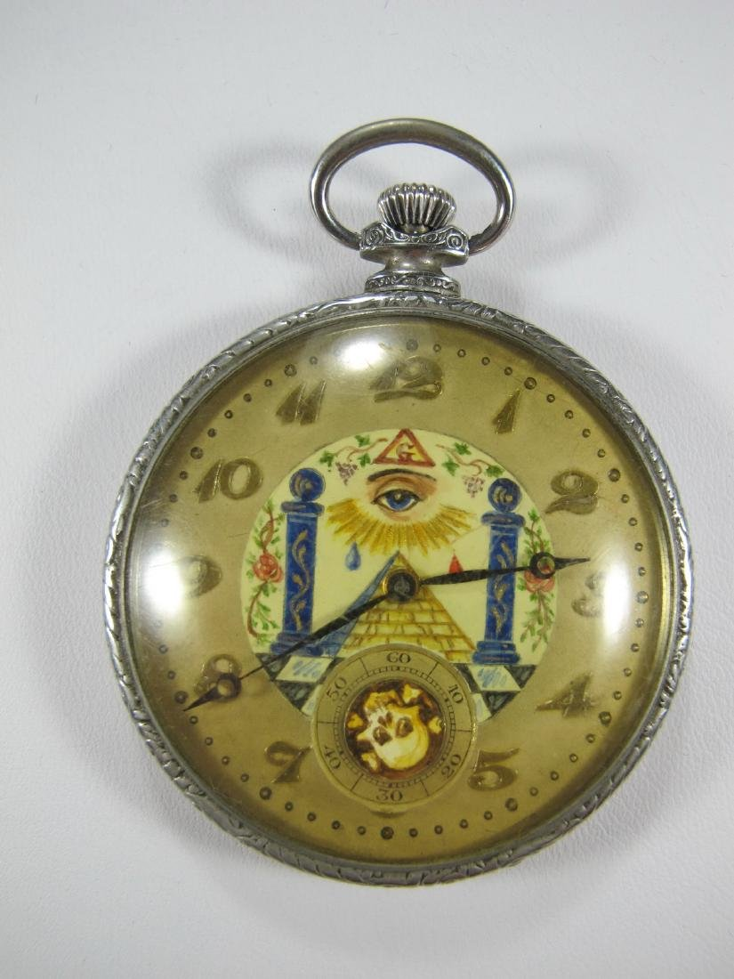 Vintage Masonic unbranded open face pocket watch