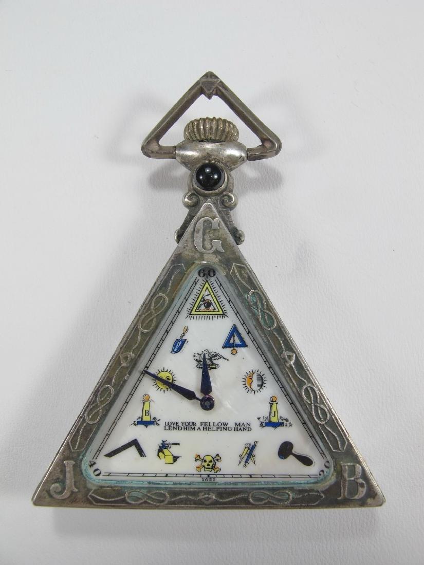 Antique Swiss 800 silver triangular pocket watch