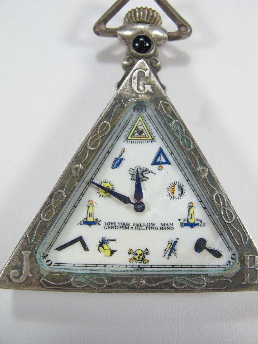 Antique Swiss 800 silver triangular pocket watch - 2