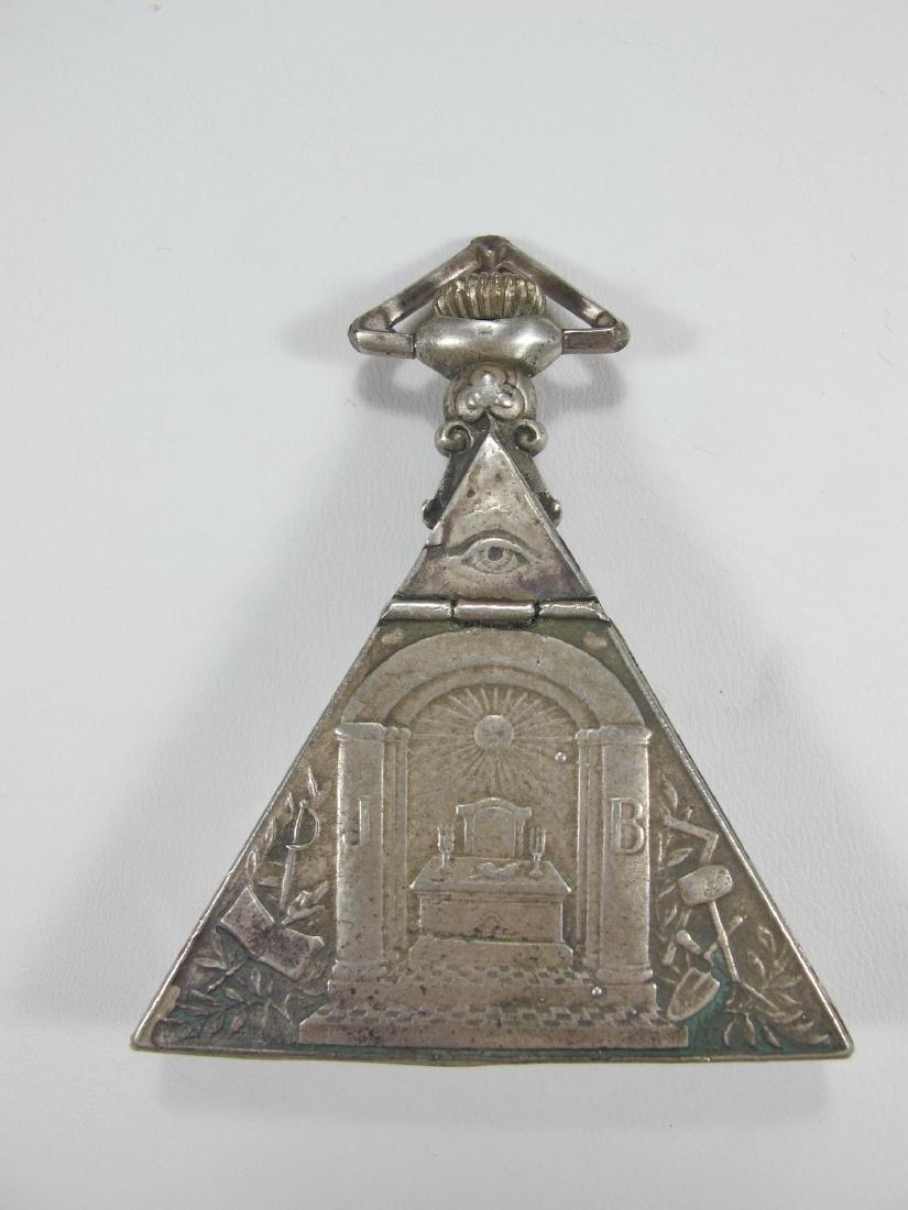 Antique Swiss 800 silver triangular pocket watch - 3