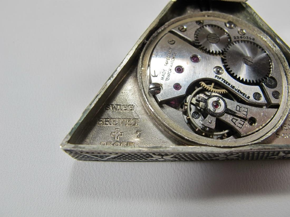Antique Swiss 800 silver triangular pocket watch - 5